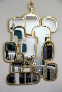 miroir domino doré
